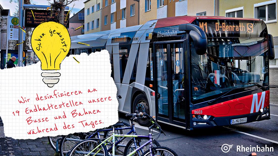 Auch während des Tages kümmern wir uns noch mehr um die Reinigung des Busse und Bahnen.